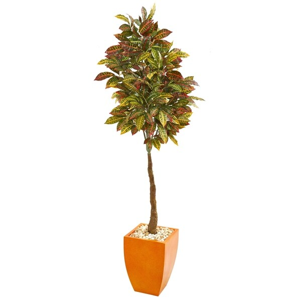 6' Croton Artificial Tree in Orange Planter