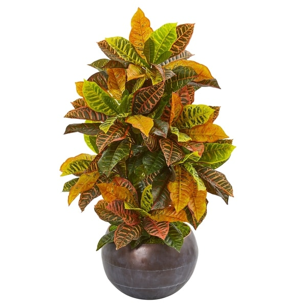 """37"""" Croton Artificial Plant in Metal Bowl (Real Touch)"""