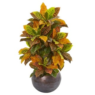 "37"" Croton Artificial Plant in Metal Bowl (Real Touch)"