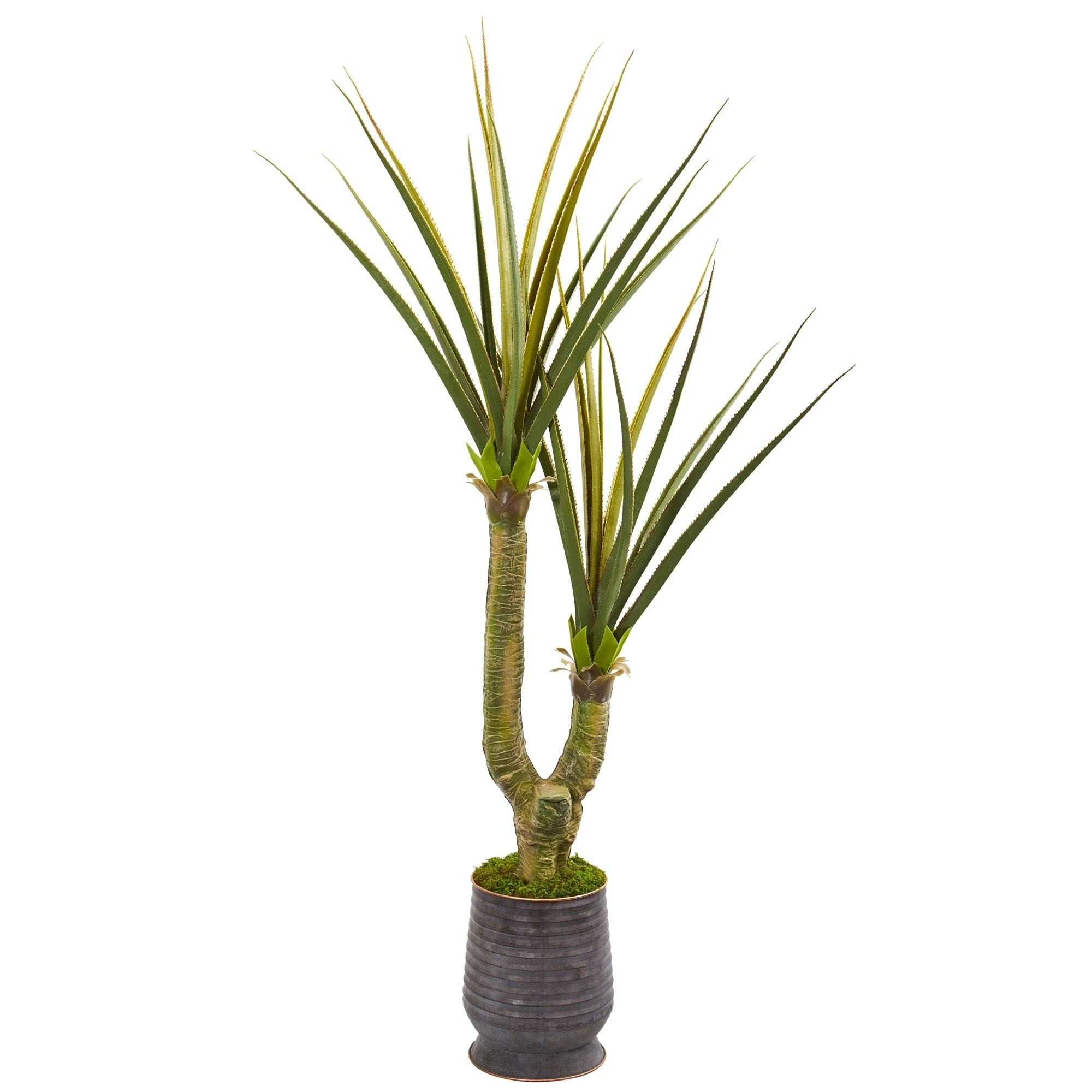 69 Yucca Artificial Plant in Ribbed Metal Planter