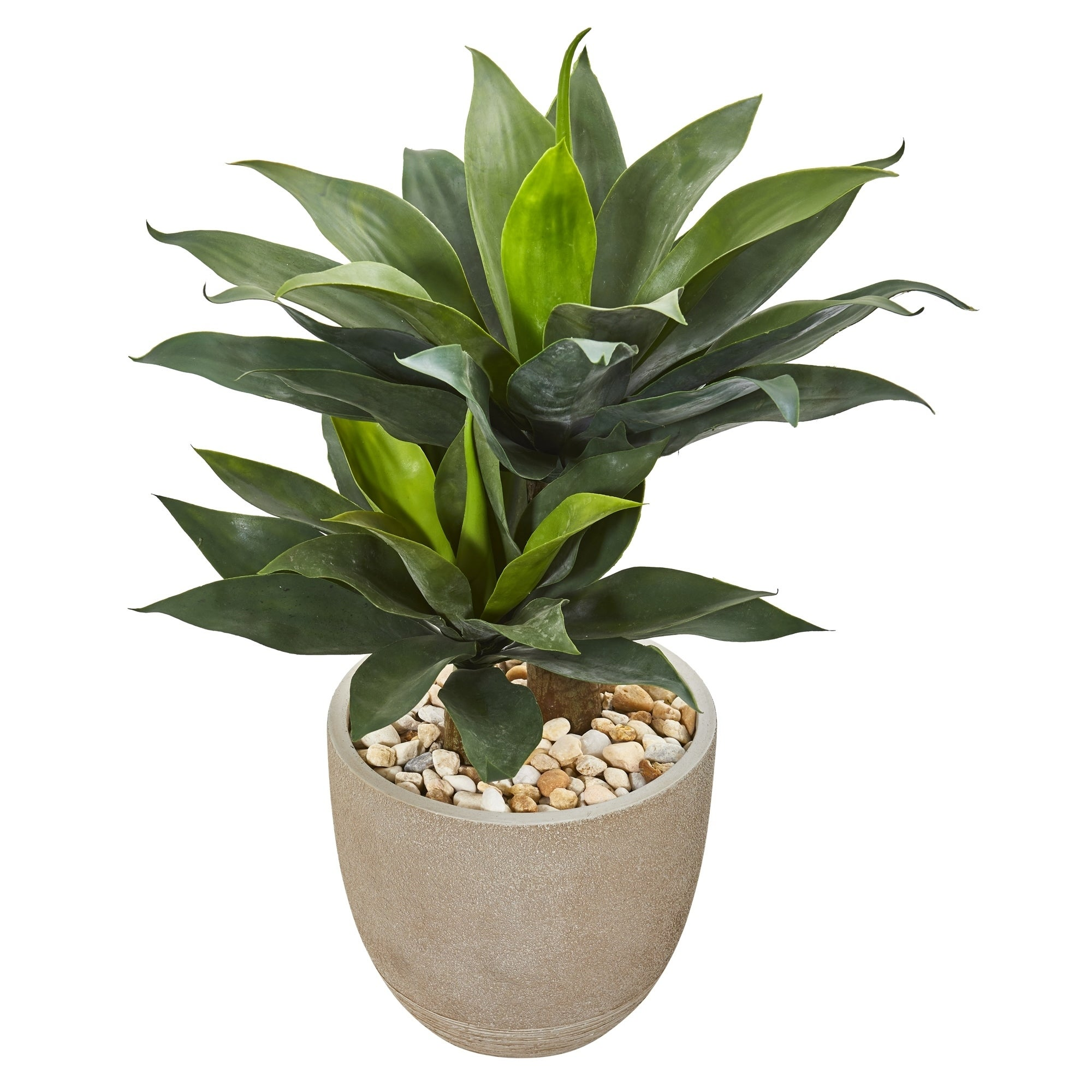 34 Double Agave Succulent Artificial Plant in Sand Stone Planter