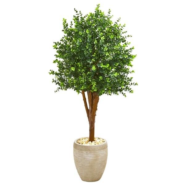 4.5' Eucalyptus Artificial Tree in Sandstone Planter UV Resistant (Indoor/Outdoor)