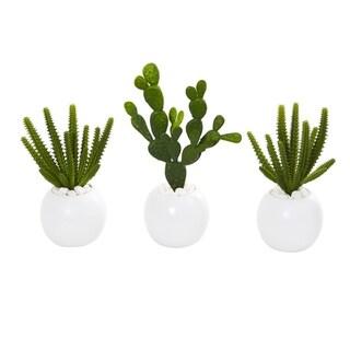 """10"""" Cactus Succulent Artificial Plant in White Vase (Set of 3)"""