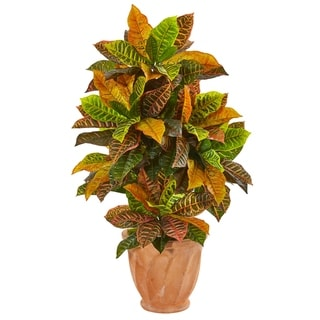 """40"""" Croton Artificial Plant in Terra Cotta Planter (Real Touch)"""