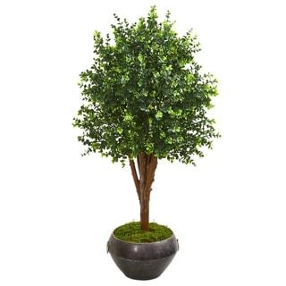"""50"""" Eucalyptus Artificial Tree in Metal Bowl UV Resistant (Indoor/Outdoor)"""