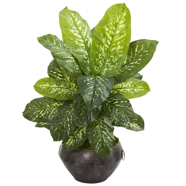 "35"" Dieffenbachia Artificial Plant in Metal Bowl (Real Touch)"