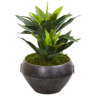 "21"" Agave Artificial Plant in Metal Bowl"