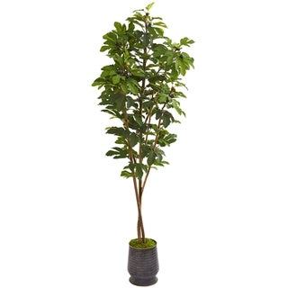 """88"""" Fig Artificial Tree in Ribbed Metal Planter"""