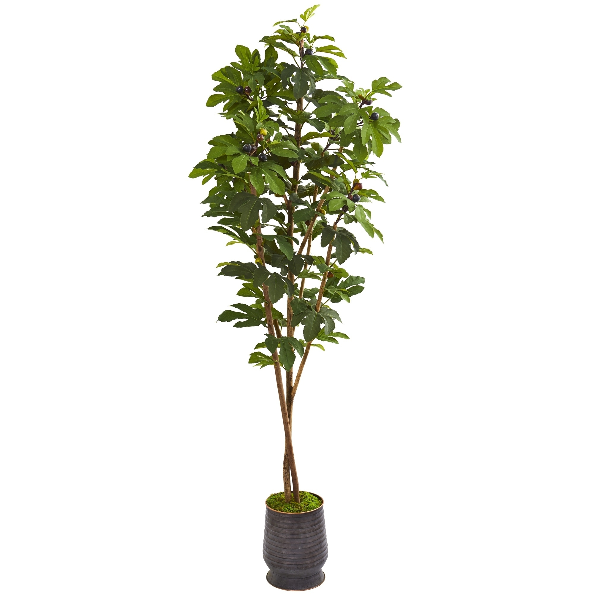 88 Fig Artificial Tree in Ribbed Metal Planter