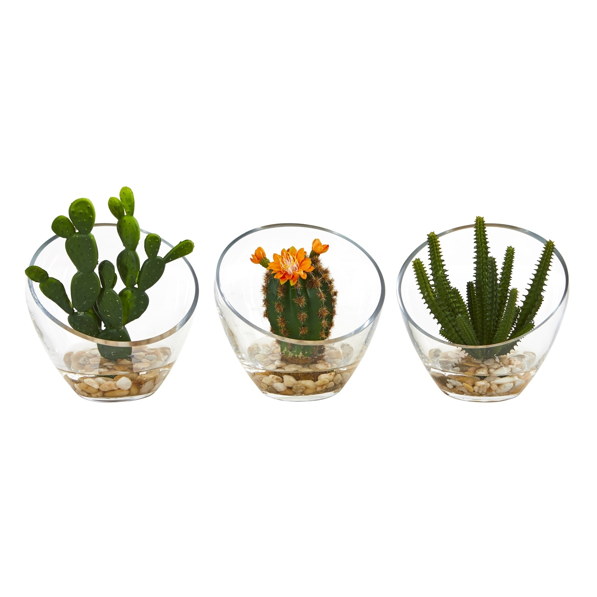 7 Mixed Succulent Artificial Plant in Glass Vase (Set of 3)