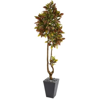 "70"" Croton Artificial Tree in Slate Planter"