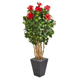 """65"""" Hibiscus Artificial Tree in Slate Planter"""