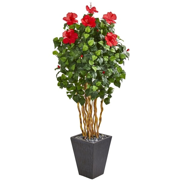 "65"" Hibiscus Artificial Tree in Slate Planter"