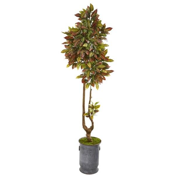 """73"""" Croton Artificial Tree in Decorative Planter"""