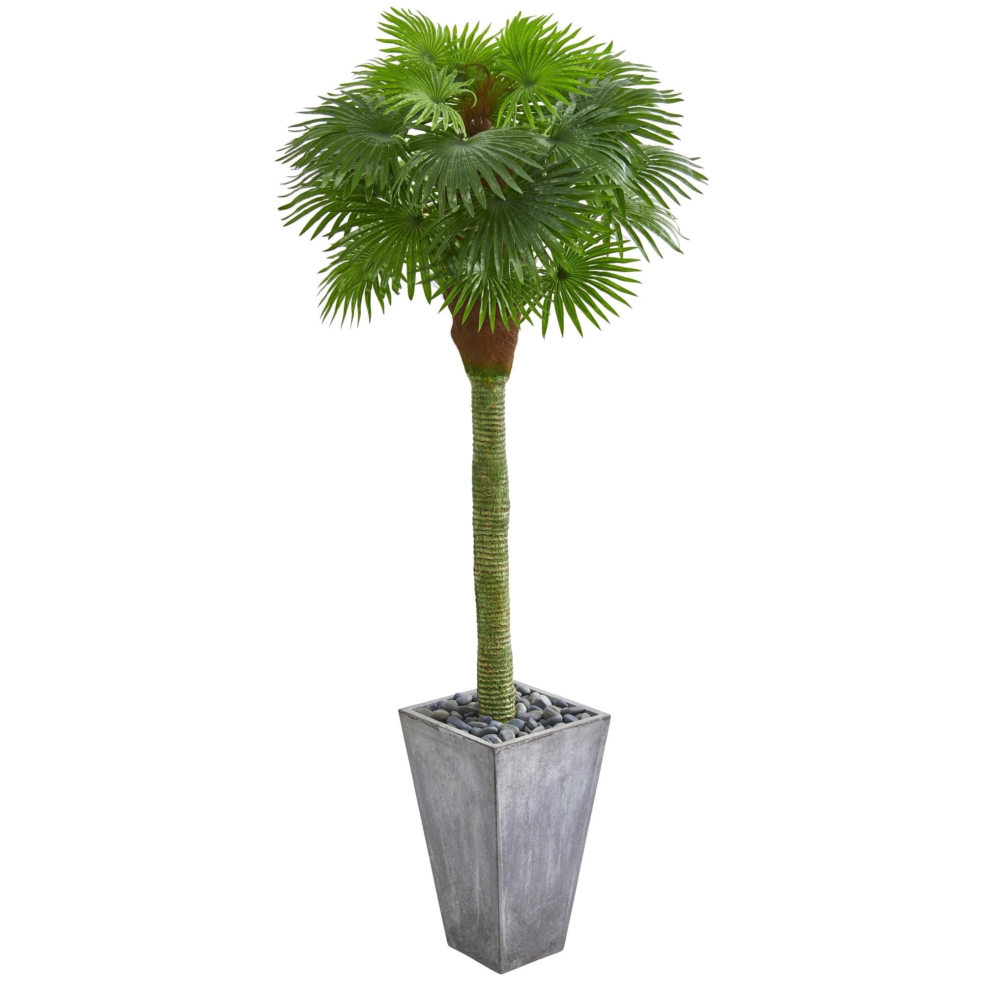 6.5 Fan Palm Artificial Tree in Cement Planter UV Resistant (Indoor/Outdoor)