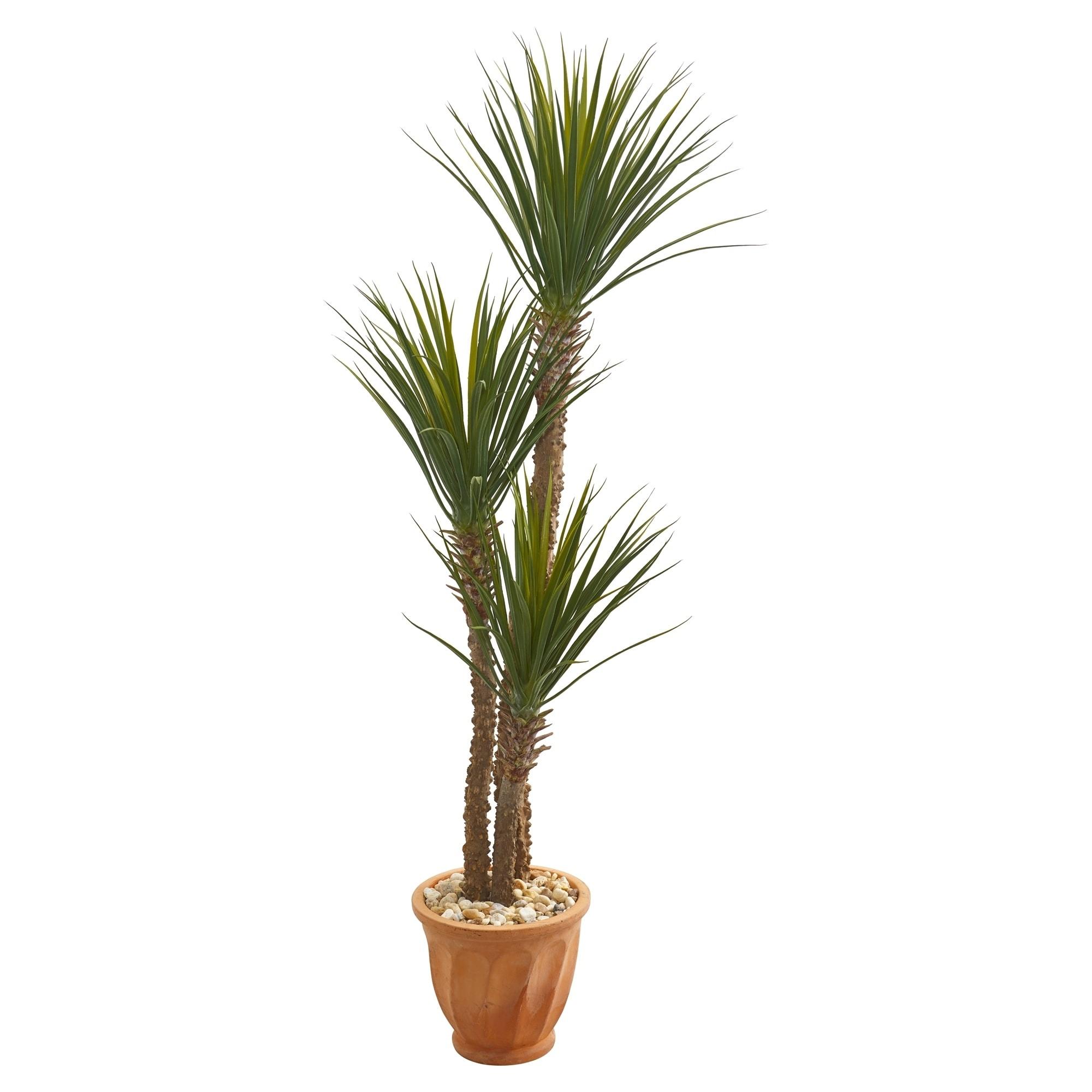 65 Yucca Rostrara Artificial Tree in Terra Cotta Planter