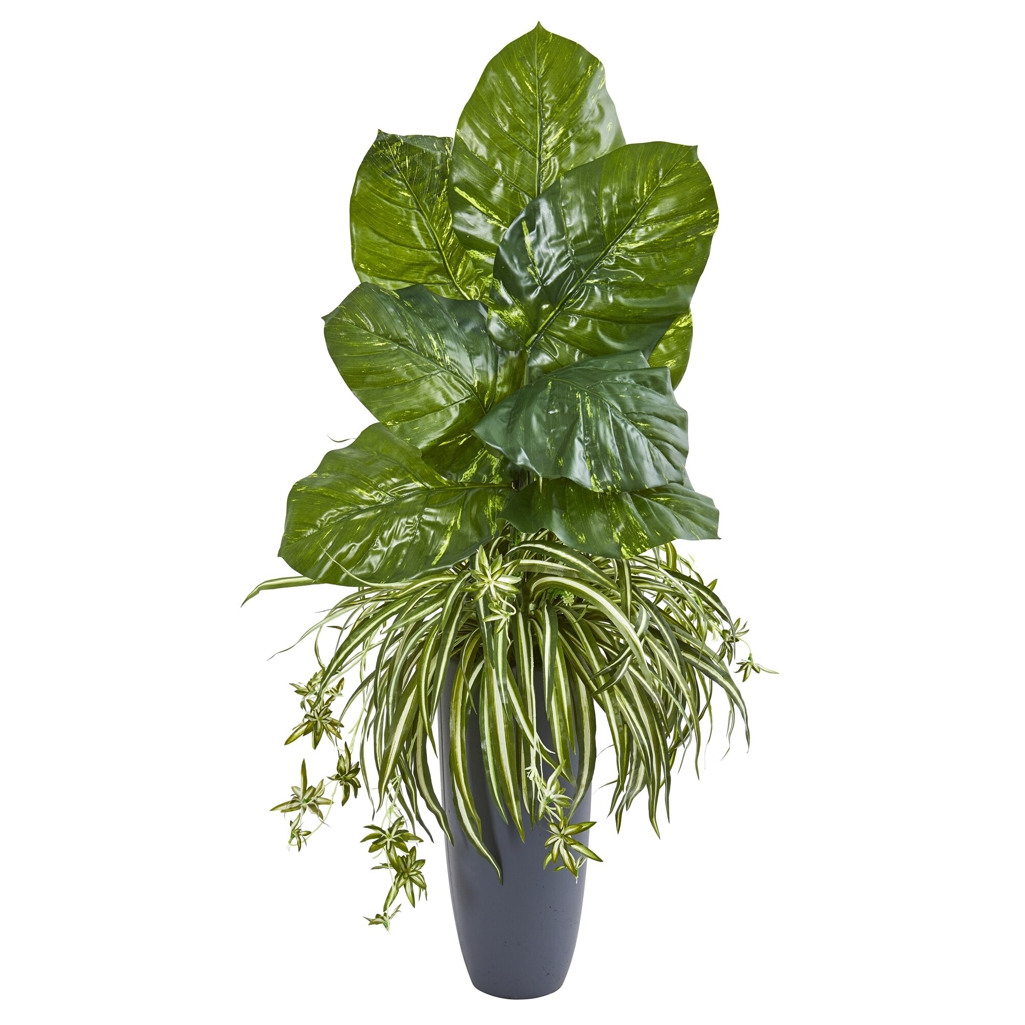 49 Spider and Pothos Artificial Plant in Gray Planter