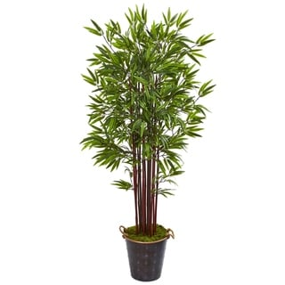 "74"" Bamboo Artificial Tree in Metal Planter"