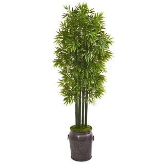 6' Bamboo Artificial Tree with Black Trunks in Planter UV Resistant (Indoor/Outdoor)