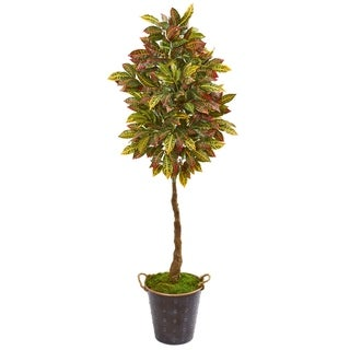 "70"" Croton Artificial Tree in Decorative Planter"