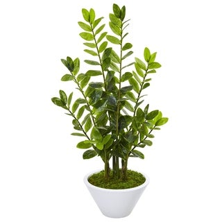 "37"" Zamioculcas Artificial Plant in White Planter"