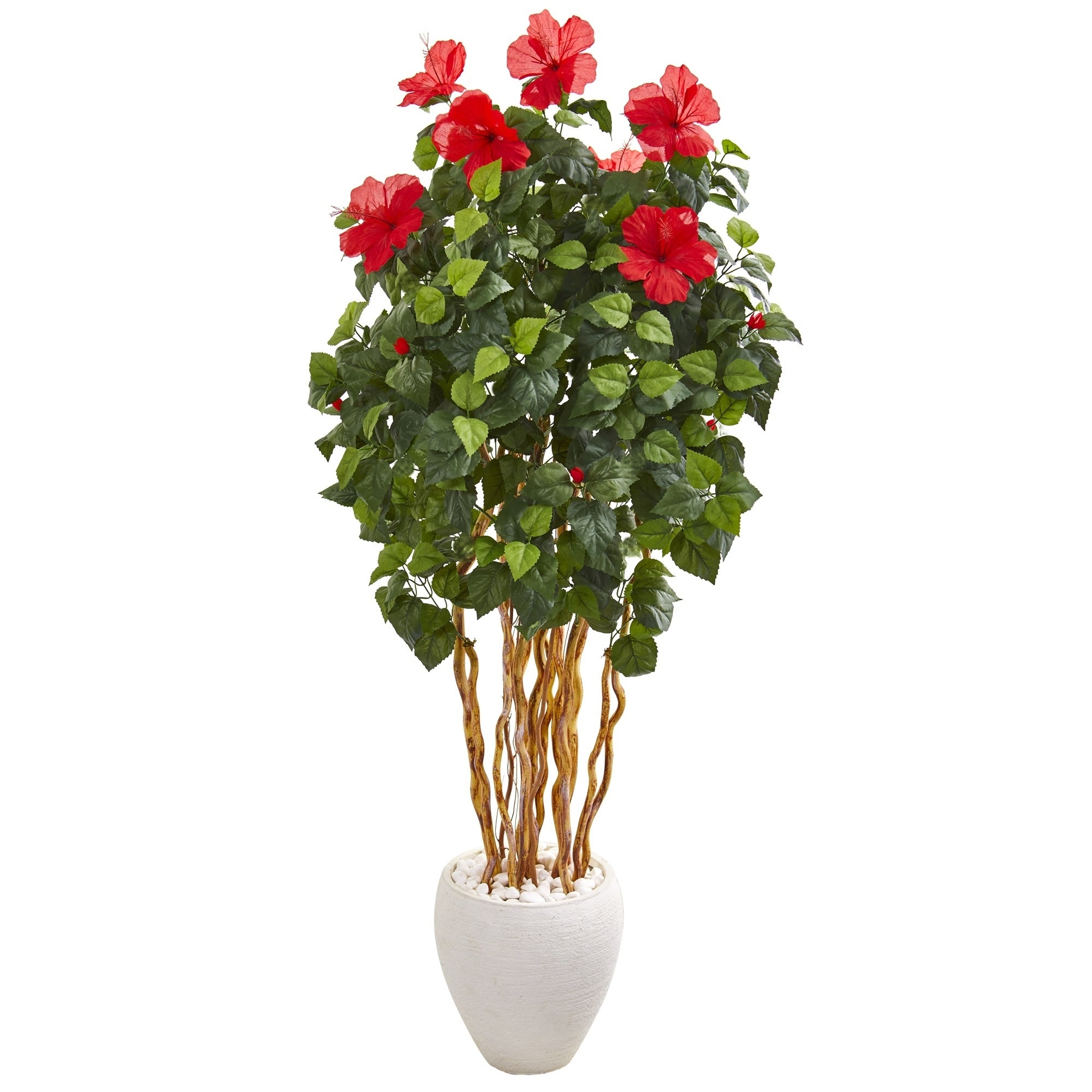 63 Hibiscus Artificial Tree in White Planter