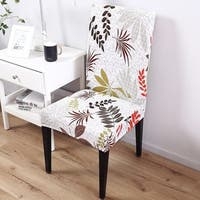 Elegant Polyester and Spandex Stretch Washable Yellow Leaf Dining Chair Slipcover (As Is Item)