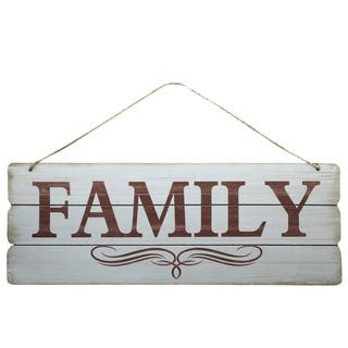 """UTC58613: Wood Rectangle Wall Art with Printed """"Family"""" and Rope Hanger Smooth Finish White"""