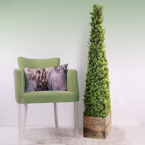 "Spring Boxwood Obelisk In Wood Box 48"" - Plastic"