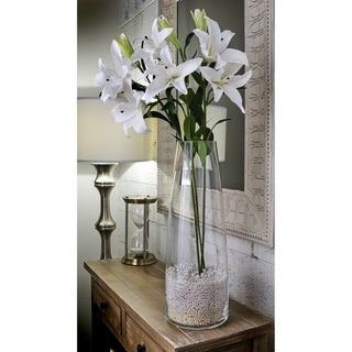 Natural Touch Lilies, Three Per Stem, Two Open, One Closed (Set of 3) - White