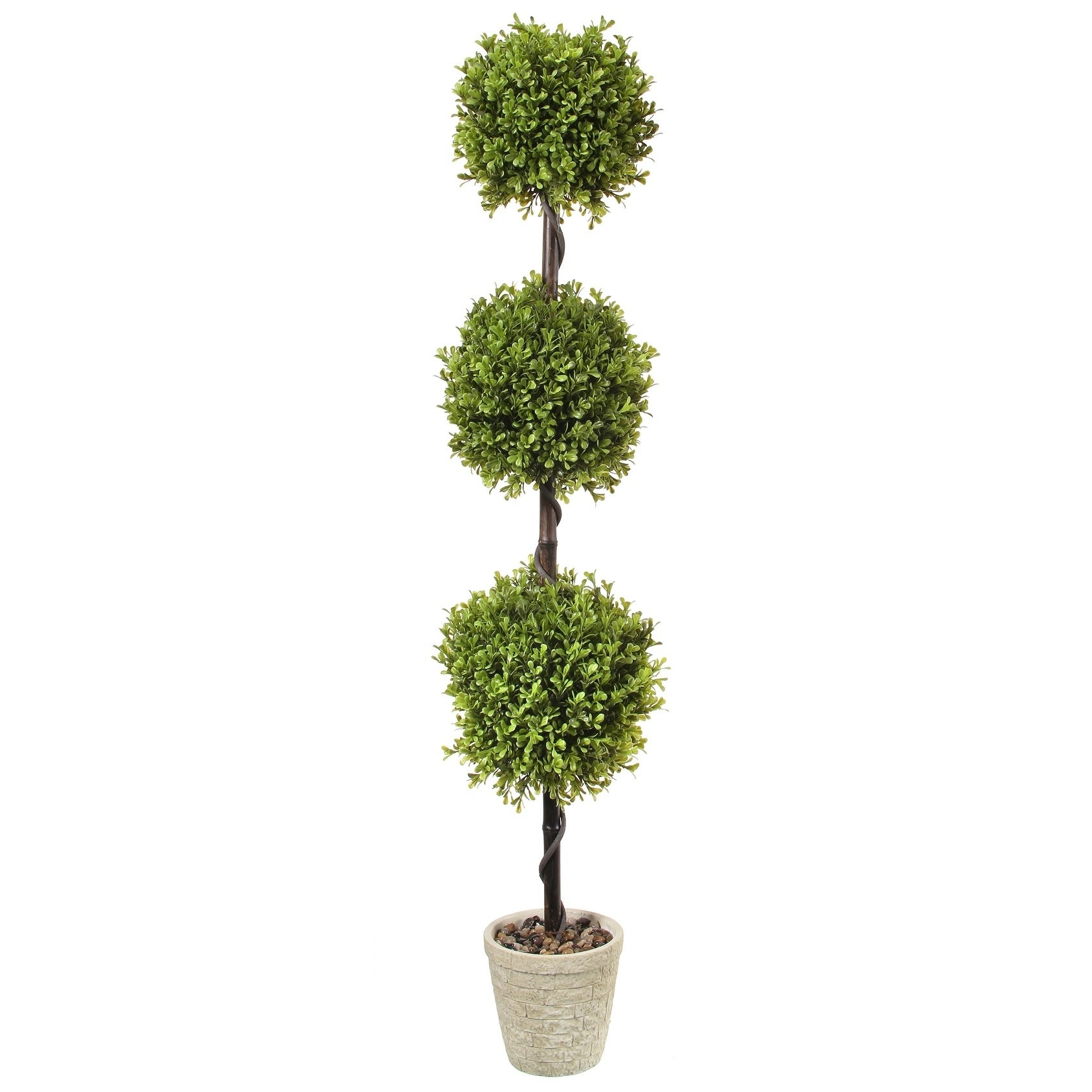 Spring Boxwood Triple Ball Topiary Potted 48 - Plastic and Cement