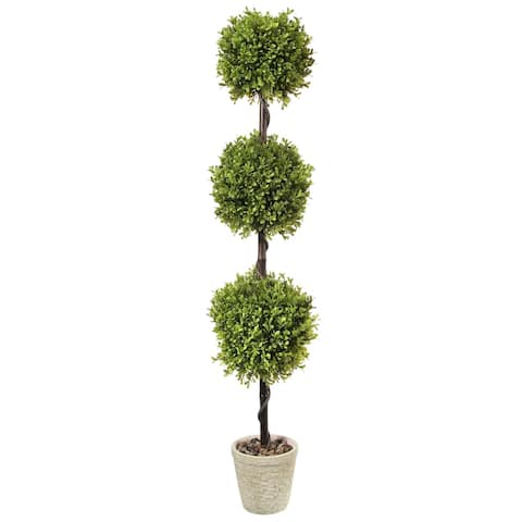 """Spring Boxwood Triple Ball Topiary Potted 48"""" - Plastic and Cement"""