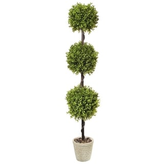 "Link to Spring Boxwood Triple Ball Topiary Potted 48"" - Plastic and Cement Similar Items in Decorative Accessories"