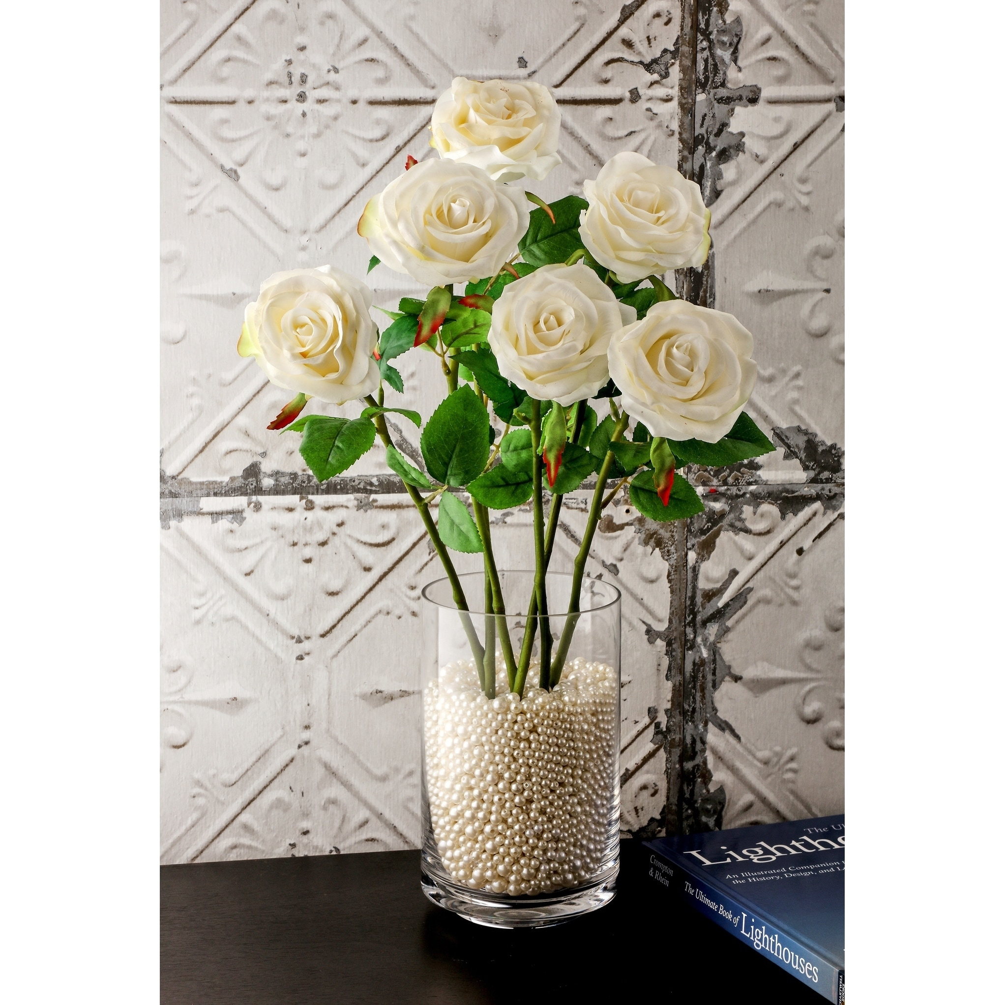 Natural Touch Parfait Roses 22 Long (Set of 6) - White