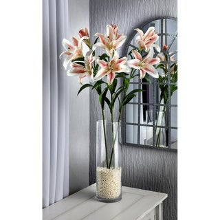 Natural Touch Lilies, Three Per Stem, Two Open, One Closed (Set of 3) - White Pink