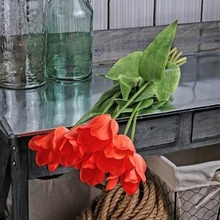 "Natural Touch Tulip Spray 28"" (Set of 6) - Orange"