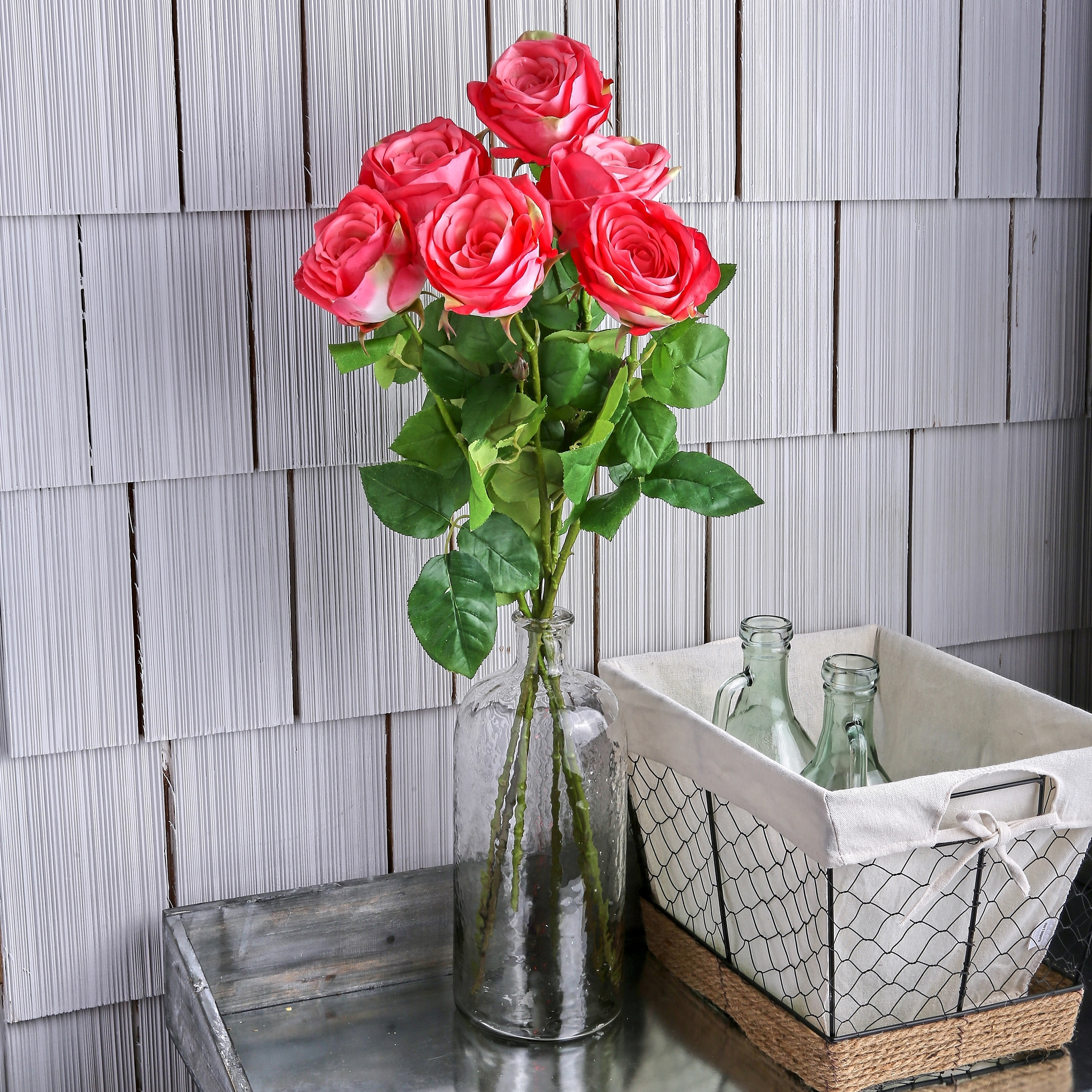 Natural Touch French Roses 26 Long (Set of 6) - Rose Pink