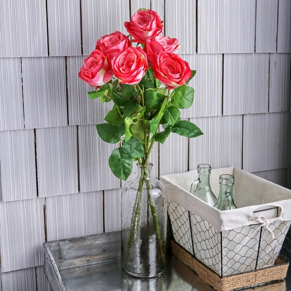"""Natural Touch Garden Roses Three per Stem 19"""" Long (Set of 6) - Blush"""