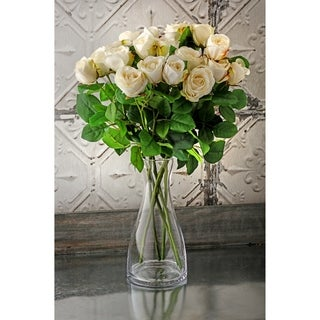 "Natural Touch Garden Roses Three per Stem 19"" Long (Set of 6) - White"