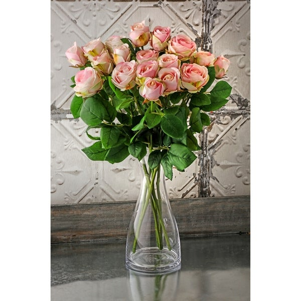 """Natural Touch Garden Roses Three per Stem 19"""" Long (Set of 6) - Champagne"""