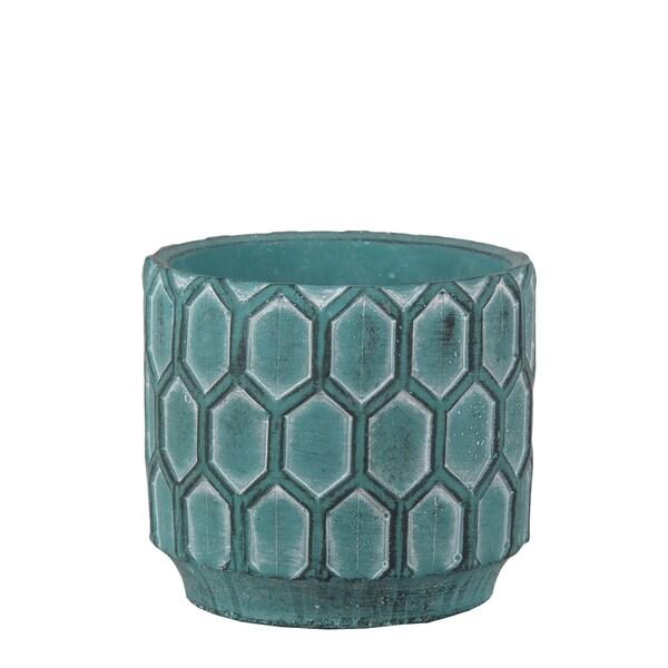 Privilege Antique Blue Cement Round Pot