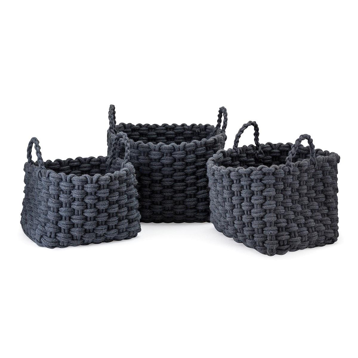 Trisha Yearwood Bluebird Woven Rope Baskets - Set of 3