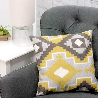 Kotter Home Aztec 18 x 18 Decorative Throw Pillow (Mustard/Charcoal/Grey / White / Yellow)