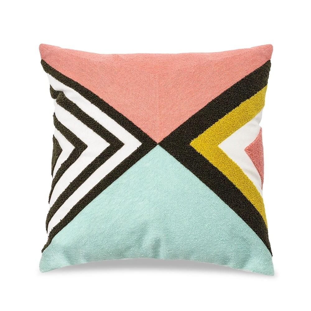 Kotter Home Geometric 18 x 18 Decorative Throw Pillow (Mustard/Salmon/Teal)