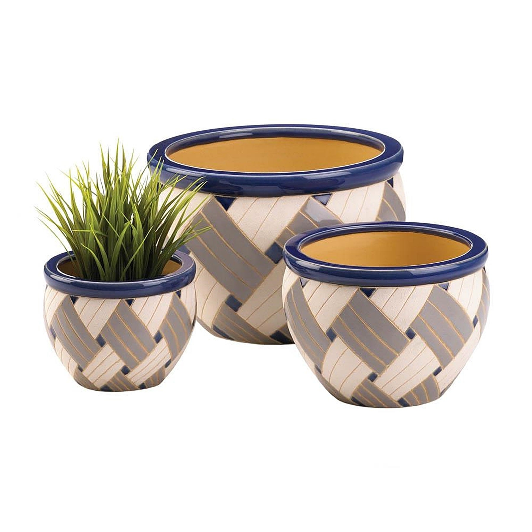 Mulvane Geometric Designed Ceramic Plant Holders - Set of 3