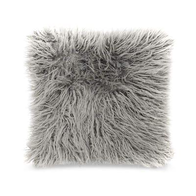 Porch & Den Charlotte Grey Faux Fur 18-inch Decorative Throw Pillow