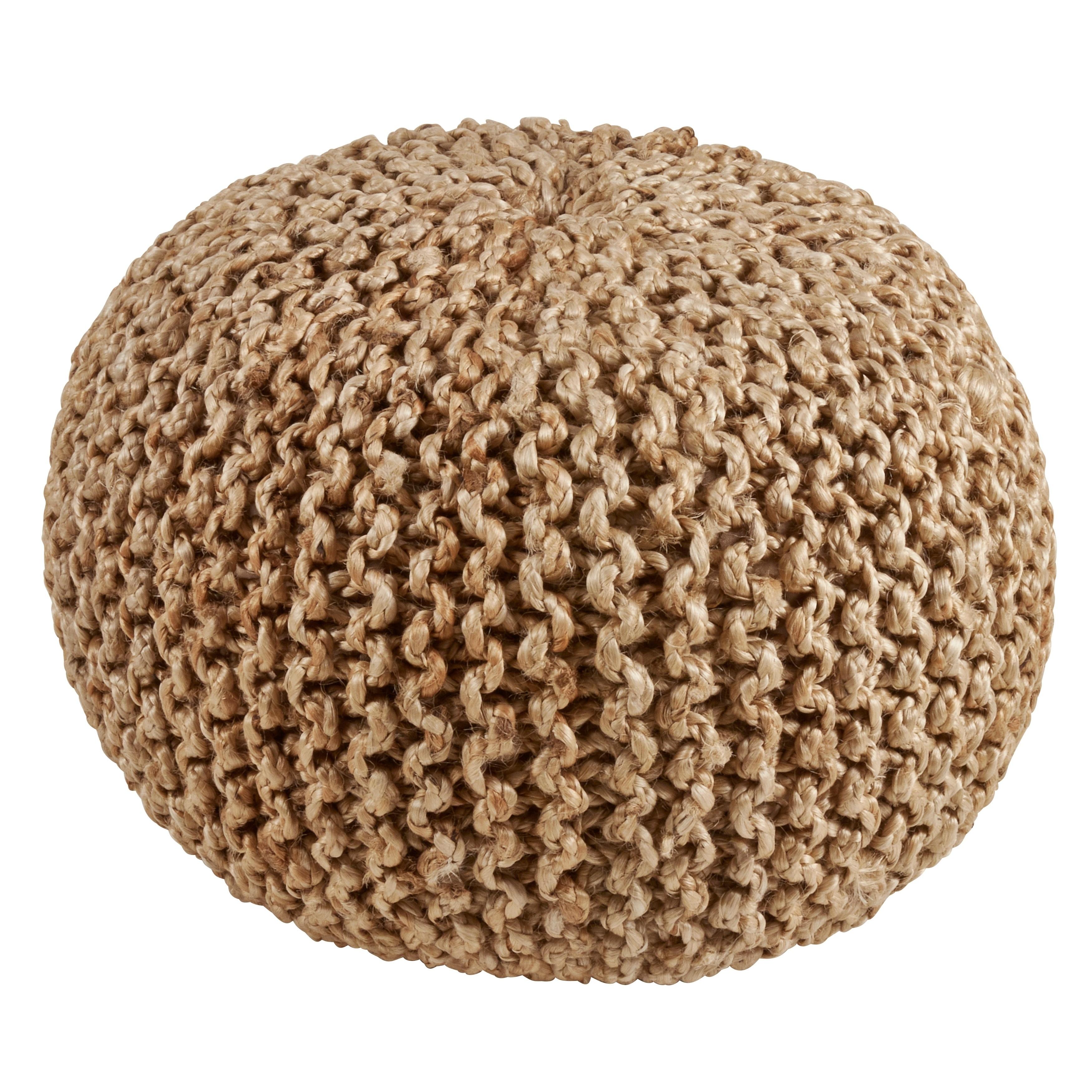 Saro Lifestyle Jute Braided Decorative Pouf