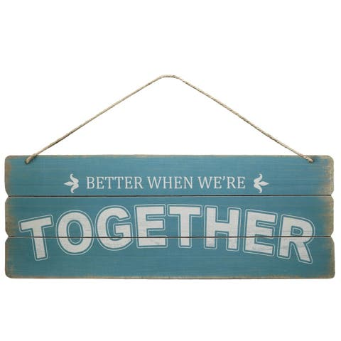 UTC58621: Wood Rectangle Wall Art with Front Top Rope Hanger Smooth Finish Sky Blue