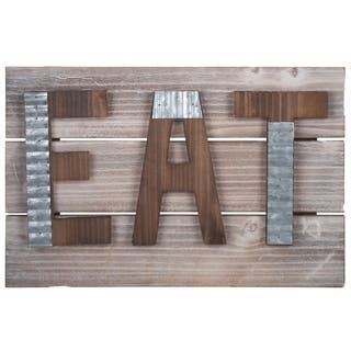 UTC57824: Wood Rectangle Wall Art with Triangular Back Hangers Natural Finish Brown