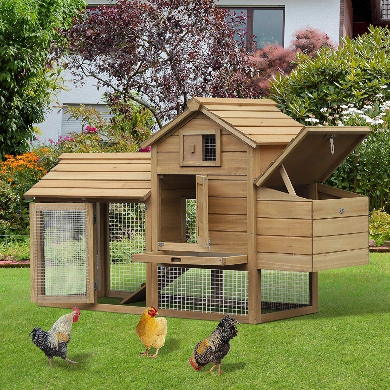 Shop Pawhut Solid Wood Enclosed Outdoor Backyard Chicken Coop Kit